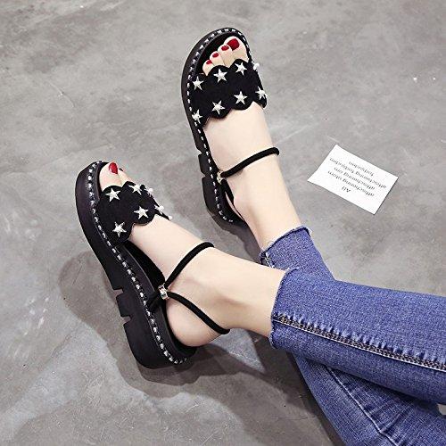 Lgk & fa estate sandali da donna d estate con la pendenza con spessa suola sandali due muffin pantofole da indossare Black