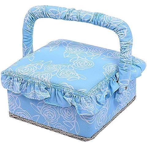Vintage con stampa floreale tessuto cestino per il cucito, con maniglia e vassoio rimovibile, 129Pezzi Kit Da Cucito Accessori, 19,3x 19,3x 11,4cm blu