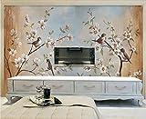 Fototapete 3D Tapete Blume Und Vogel Pfirsich Gemälde Im 3D Effekt Moderne Vlies Wandbilder Dekoration