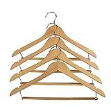 Proman Produkte Cascade Kleiderbügel aus Holz mit Kerben und Verriegelung Bar, natur