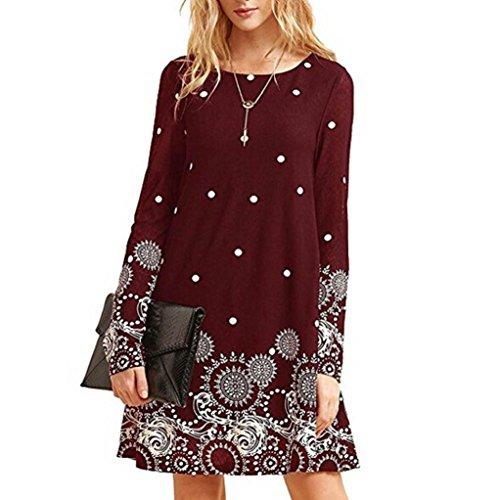 TWIFER Damen Herbst Langarm Kleid Casual Blumendruck O-Ausschnitt A-Linie Kleider (Rot, L) -