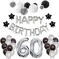 Weimi 60th Birthday Decorations for Man 20pcs Latex Balloons 9pcs Tissue Paper Pom Poms