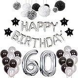 Weimi 60. Geburtstags-Dekorationen Happy Birthday für Männer 20pcs Latex Ballons 9pcs Seidenpapier Pom Poms