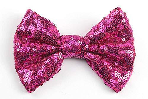 Kfang-headbands, 1 STÜCK Handgemachte Haarspangen Für Dame Mädchen Pailletten Großen Bowknot Nette Haarnadeln Täglichen Schule Haarspangen Headwear Prinzessin Zubehör (Color : Rose) -