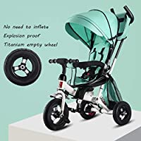 QXMEI 4 In 1 Tricycle 6 Months To 6 Years 5-Point Safety Belt Childrens Tricycles Adjustable Push Handle 360° Swivelling Saddle Folding Sun Canopy Kids Tricycle Maximum Weight 50 Kg