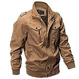 UJUNAOR Herren Baumwoll Langarm Jacke Military Stehkragen Mit Reißverschluss Multi-Tasche 6XL(Khaki,CN 3XL)