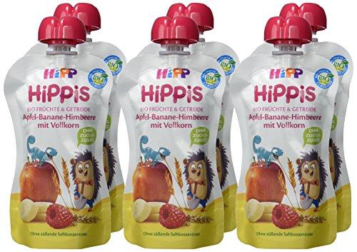 HiPP HiPPiS Früchte und Getreide Quetschbeutel, Apfel-Banane-Himbeere mit Vollkorn, 100{bab84c4555366e1b1b26b99dab05e597b7db8a78022a63cf183bb090165ea873} Bio-Früchte und Getreide, Ohne Zuckerzusatz, 6 x 100 g Beutel