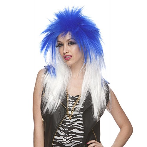 Characters Extra Long Rocker Synthetic Wig - Dark Blue And White