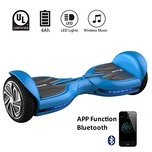 "EVERCROSS Diablo Patinete Eléctrico Hoverboard Scooter talla 6.5"" LED 200W*2 Bluetooth&APP (Azul)"
