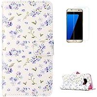 KaseHom Samsung Galaxy S8 + [Protector de Pantalla] Dibujos Animados Estuche Billetera de Cuero Folio con Ranuras para Tarjetas y Cubierta Flip magnética Slim Anti-Arañazos Case - Flowers