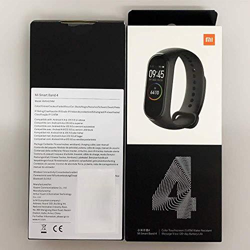 Xiaomi Mi Band 4 Pulsera de Actividad, Monitores de Actividad, Pantalla Pulsómetro Fitness Tracker,  Pulsera Smartwatch con 0.95 Pantalla AMOLED a Color, con iOS y Android, Negro(Versión Global)