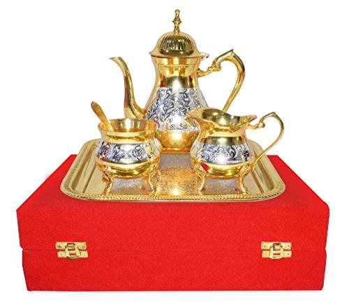 Weihnachten Geschenk Set Premium Antik Mughal Stil Messing Gold und Silber Tee Kaffee Set.. Moderne und traditionelle Home Decor themes|