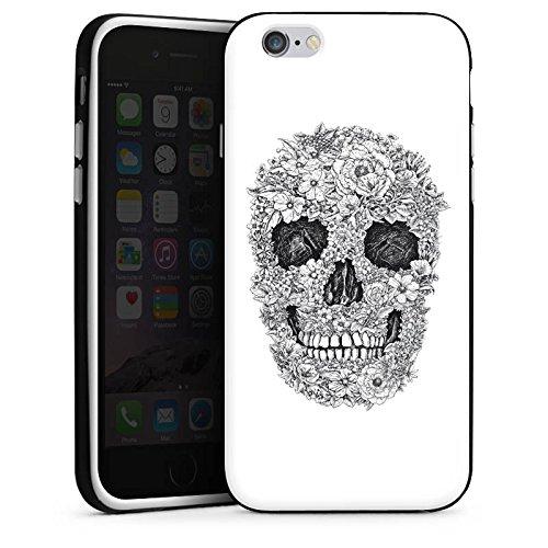 Apple iPhone 8 Plus Hülle Case Handyhülle Totenkopf Flowers Retro Silikon Case schwarz / weiß