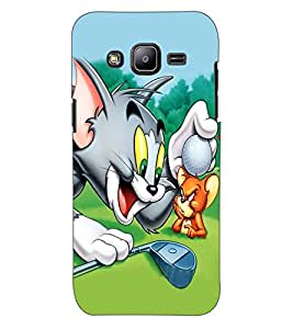 ColourCraft Funny Cat and Rat Design Back Case Cover for SAMSUNG GALAXY J2 DUOS