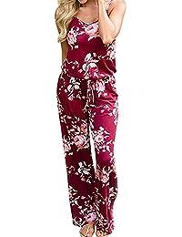 c8f2eb6c415b Tuta Intera Donna - Donna Tuta Eleganti Estiva Lunghi Pantaloni Tute Tasca  Di Jumpsuit Pagliaccetto Monopezzo Spiaggia Senza…
