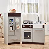 Teamson Kids - Contemporary Modern Deluxe Play Kitchen for Kids with Fridge, Rotatable Gas Switch, Icemaker & Water Cooler - Grey & Espresso | Pretend Play