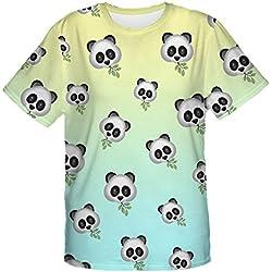 Fringoo mujeres camiseta para hombre Emoji parte superior de moda del verano manga corta fiesta vacaciones camiseta Emoji Panda Talla única