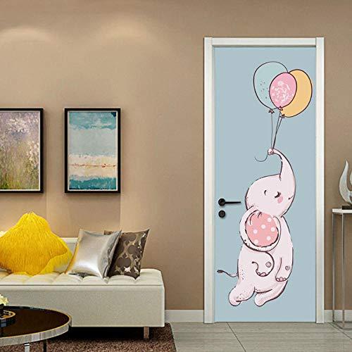 JCsticker 3D Türtapete Baby Elefant Ballon Cartoonart Türtapeten Selbstklebend Fototapete Poster PVC Wasserdicht (77X200Cm) Schlafzimmer Wohnzimmer Badezimmer Weihnachten Geschenk Büro Wohnkultur (Junge Für Dekorationen Eule Baby-dusche)