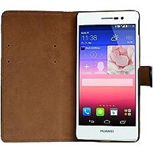 "Slabo Funda Flip Case Cover Tipo Billetero para Huawei Ascend P7 - ""PIEL AUTÉNTICA"" - NEGRO   BLACK"