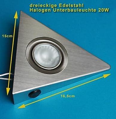 3er Set dreieckige Edelstahl Unterbauleuchten mit Schalter an jeder Leuchte von Rolux auf Lampenhans.de