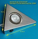 3er Set dreieckige Edelstahl Unterbauleuchten mit Schalter an jeder Leuchte