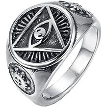 UM Joyería Hombres Mujer Acero inoxidable Triángulo Ojo ciclista anillos Negro Plata