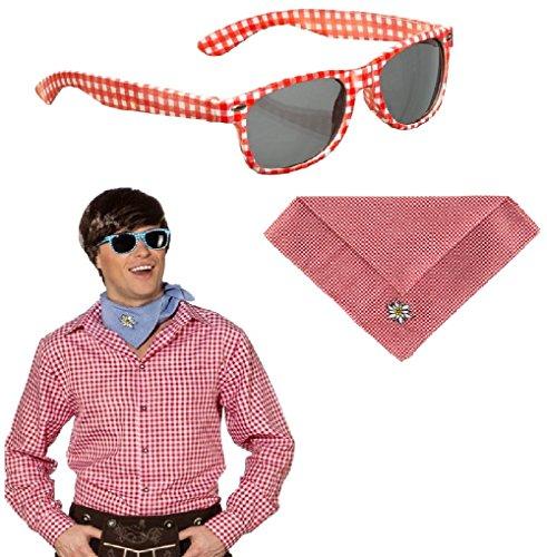 Brille, Trachtenhemd und Trachtentuch rot weiß kariert im Kostüm Set - Brille rot weiß, Halstuch rot weiß, Trachtenhemd Herren Hemd rot weiß kariert Bayern Party Volksmusik Schlager (L/XL (54/56))