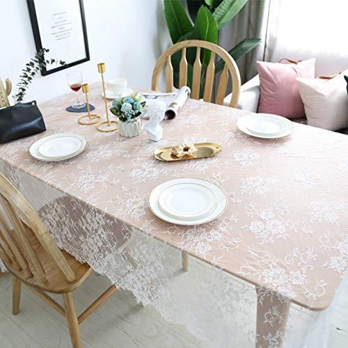 Maritown Weiße Spitze Tischdecke, europäische rustikale Vintage Floral bestickte Tischdecke Läufer für Hochzeit, Bankett, Weihnachten, Baby-Dusche, Gartenparty