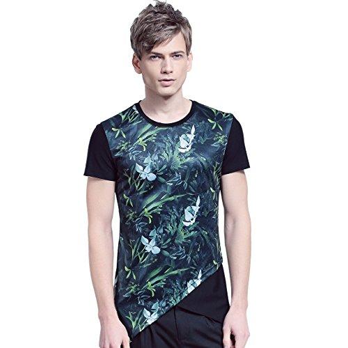 FANZHUAN Uomo Estate T-Shirt Maglietta Maniche Corte Collo O Stampa Floreale Macchia Inchiostro Irregolare Moda Casual