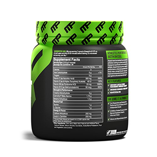 musclepharm Assault Sport 30 Servings Pre-Workout Protein Mix, Strawberry Ice