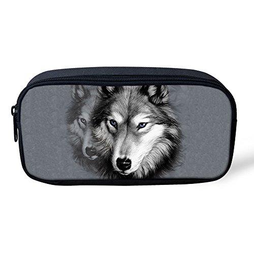 showudesigns Einzigartige Tier Drucken Bleistift Tasche Frauen Make Up Fall Reißverschluss Dedium wolf 3 (Drucken Mini-handtasche Make-up)
