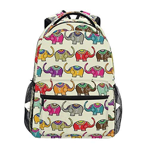 Ahomy Mochila India Elefantes Mochila Escolar para niñas niños Mujeres Ideal Viaje...