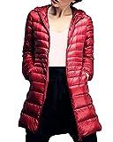 Damen Daunenmantel Ultra Leicht Parka Winter Jacke Lang Daunenjacke Steppjacke Übergangsjacke Rot 4XL