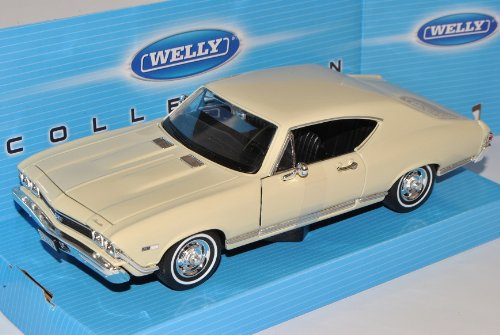 Welly Chevrolet Chevelle 1968 Coupe SS396 Creme Beige 1/24 Modell Auto - Chevy 1968 Chevelle