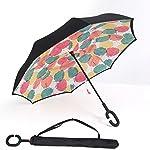BP @ Regenschirm faltbar mit innenliegende Riverso umgekehrt sehr nützlich bei Regen Fenster Tattoos, Hände in Form von C Reverse Parasol freistehend der Griff Doppel Schicht winddicht Auto im Freien (106cm), Foglia di Acero