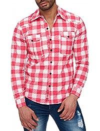 Hommes rouges chemise à manches courtes à carreaux bleu marine ID1476