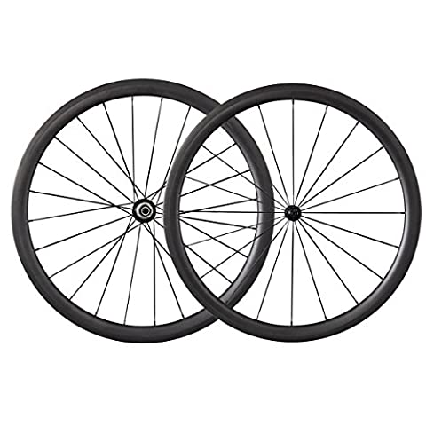 700C Carbon Road Bike 40mm Clincher Tubeless Ready Wheelset Powerway Hub R13(Best For: Climbing &