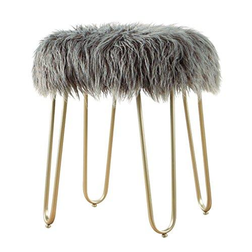 IAIZI Mode Lange Haare Hocker, Metall Dressing Hocker Sofa Hocker Ändern Schuhe Bank Schlafzimmer Make-Up Hocker Bettende Hocker, 40 * 40 * 48 cm (Color : Gray, Size : Champagne Legs)