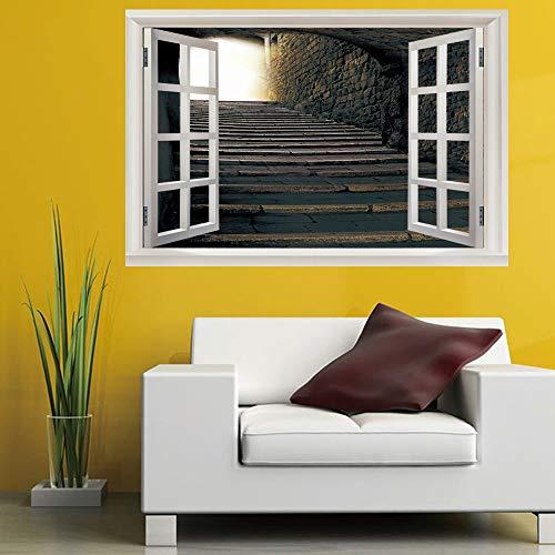 (Leoljc Europäische Schiefer Treppen 3D Gefälschte Fenster Schlafzimmer Kinderzimmer Büro Hintergrund Dekoration Pvc Landschaft Wandaufkleber (50X70 Cm))