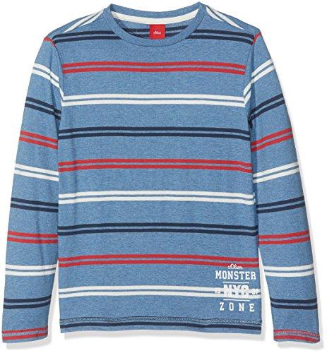 s.Oliver Jungen T-SHIRT LANGARM Langarmshirt,,per pack Blau (Blue Stripes 53G5),128 (Herstellergröße: 128/134)