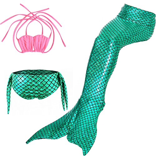 Das Beste Mädchen Meerjungfrau Bikini Kostüm Schwimmanzug Badeanzüge Tankini Muschelbikini Bademode Badeanzüge Meerjungfrauenschwanz Schwimmen Baden, 150, Farbe: Rosa+Grün (Beste Sportbekleidung Kostüm)