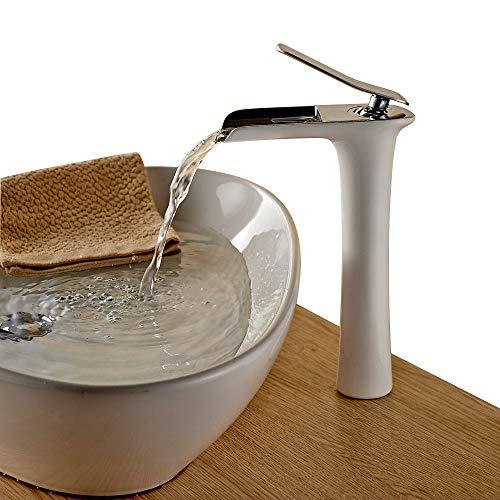 Beelee Wasserhahn Armatur Einhebel- Mischbatterie Waschtischarmatur Wasserfall Einhandmischer Gegrillte weiße Farbe für Bad Badenzimmer Waschbecken -