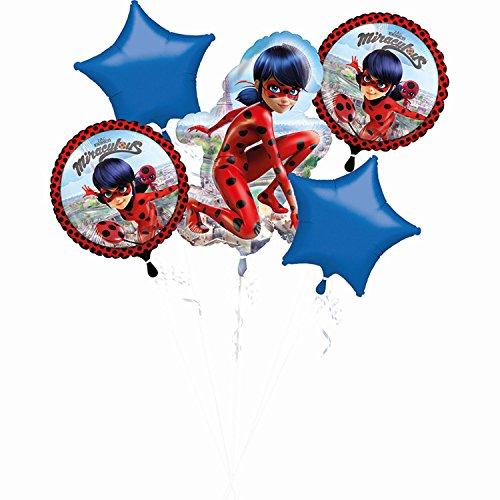 Anzug Kostüm Ballon - amscan 3796501 Bouquet Miraculous Folienballon, Mehrfarbig
