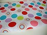 Lottashaus Polycotton Stoff 1 meter Kreise Dots bunt B-Ware