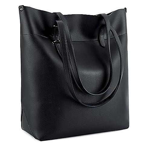 UTO Damen PU Leder Shopper modern gross Capacity Schultertasche Handtasche schwarz_