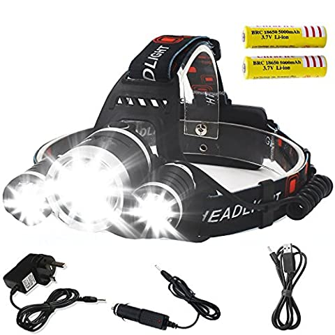 Super Bright Battery Powered Rechargeable Helmet Light 3xCREE XM-L T6 LED Focus Waterproof Headlight Flashlight 2*18650 Rechargeable Batteries for Hiking Camping Climbing Fishing Security