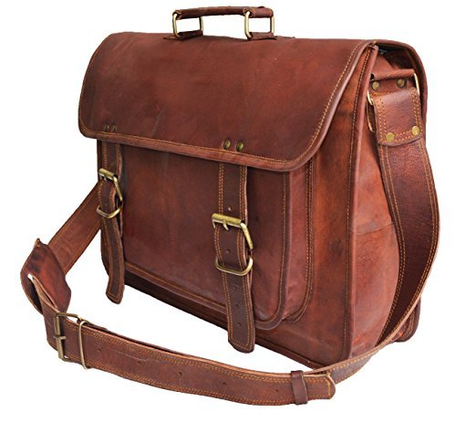 jaald Herren Echtes Leder Große Laptop Tasche Messanger Tasche für bis zu 43,9 cm Laptop Macbook (Distressed Messenger Laptop Leder)