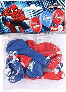 amscan 999233 Spider Man - Globos de látex (6 Unidades), Color Rojo y Azul