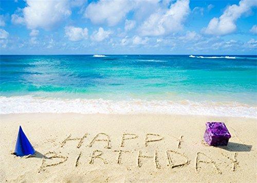 YongFoto 1,5x1m Tropical Sand Beach Hintergrund Seaside Happy Birthday Hintergründe die Fotografie Geschenke Hat Blue Sky White Cloud Summer Holiday Reise Foto Hintergrund Jungen Mädchen Studio