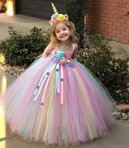 Yichener Mädchen Pastell Einhorn Blume Tutu Kleid Kinder Häkeltüll Kleid Ballkleid mit Gänseblümchen Bändern Kinder Party Kostüm - Band Tutu Kind Kostüm